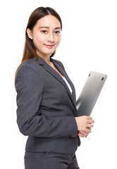 Asian mixed businesswoman with laptop computer