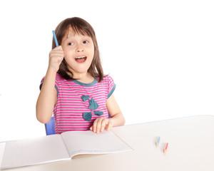 Girl doing homework having eureka moment