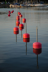 Row of red bouys