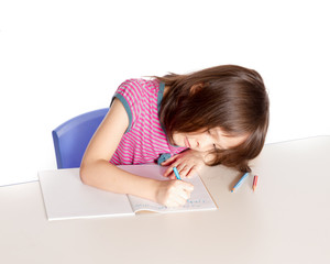 Girl doing homework at desk