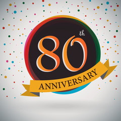 80th Anniversary poster/template retro style -Vector Background