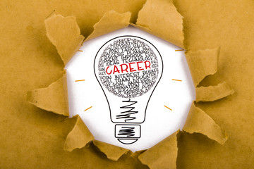 career concept with business words in light bulb