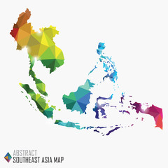 abstract colorful Southeast Asia map