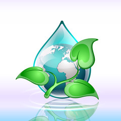 Vector background, planet in a drop of water