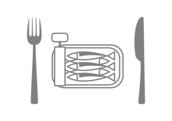 Grey sardines with cutlery on white background