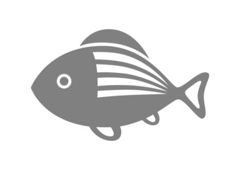 Grey fish icon on white background