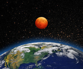 """Lunar eclipse """"Elements of this image furnished by NASA"""""""