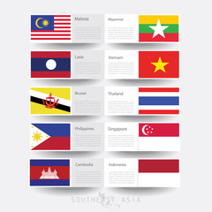 abstract national flags of Southeast Asia, AEC, ASEAN