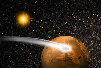 """comet over the Martian""""Elements of this image by NASA"""