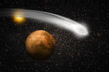 """comet over the Martian""""Elements of this image NASA"""""""