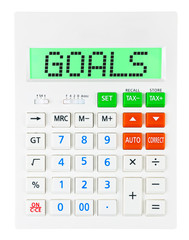 Calculator with GOALS on display isolated on white background
