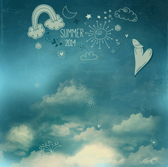Summer Sky Poster with Doodle Drawings