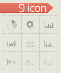 Vector black diagrams icons set