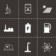 Vector black energetics icons set