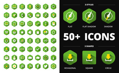 Modern flat icons collection with long shadow effects and shapes