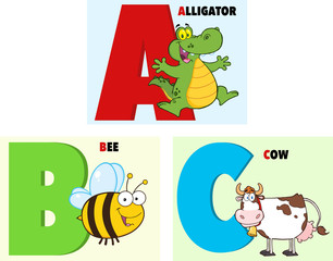 ABC Funny Cartoon Alphabet. Collection Set