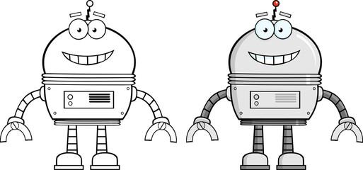 Smiling Robot Cartoon Character
