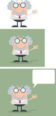 Scientist Or Professor Waving With Speech Bubble Flat Design