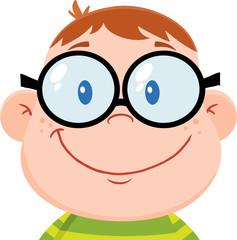 Smiling Geek Boy Head. Illustration Isolated on white