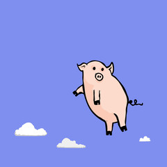 Pigs might fly cartoon character illustration