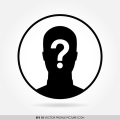 Anonymous man silhouette with question mark