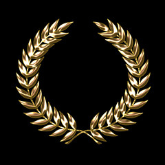 Gold Laurel Wreath on black