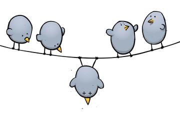 Dead bird cartoon illustration