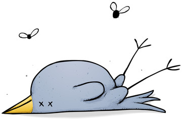 Dead bird with flies cartoon character illustration