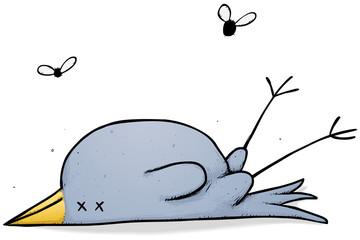 Dead bird with flies cartoon character illustration