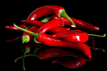 hot pepper - Chili on a black background