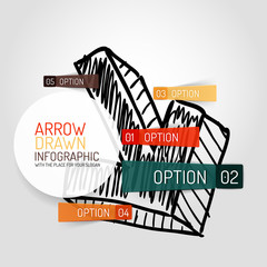 Vector hand drawn arrow design and infographics