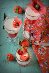 Healthy strawberry dessert with creamy yoghurt layered