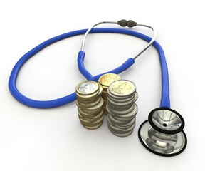 Phonendoscope and coins. The scene - health costs money