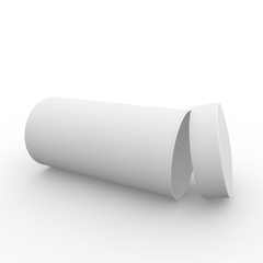 Empty white cylindrical box