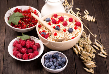 Bowls of oat flakes cereal and various berries