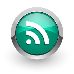 rss green glossy web icon
