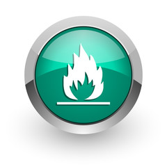 flame green glossy web icon