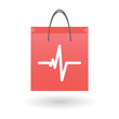 Shopping bag with a heartbeat icon
