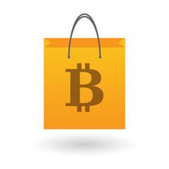 Shopping bag with a bitcoin icon