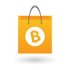 Shopping bag with a bitcoin icon