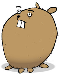 Unhappy dog cartoon character illustration