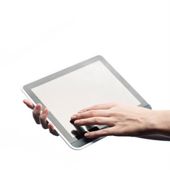 female young hands holding tablet