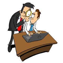 Man spying on man using computer