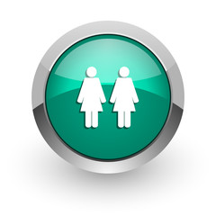 couple green glossy web icon