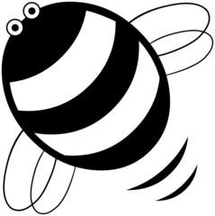 Simple black & white bee cartoon character illustration