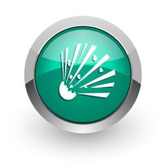 bomb green glossy web icon
