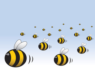 Angry Swarm Of Bees Cartoon Illustration