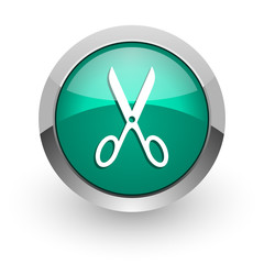 scissors green glossy web icon
