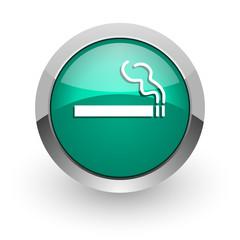 cigarette green glossy web icon