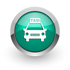 taxi green glossy web icon